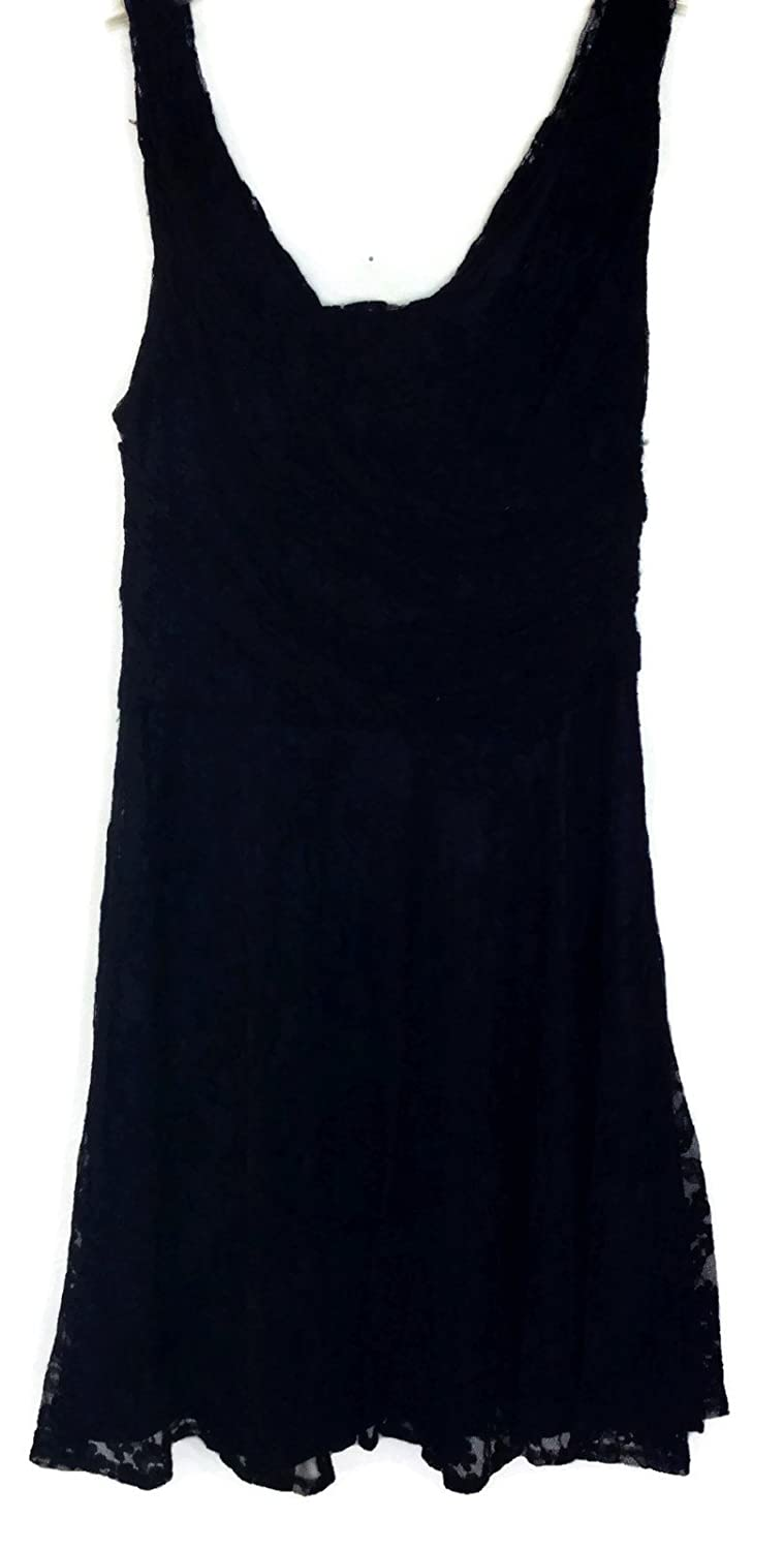 EXPRESS Black Lace Double V-neck Fit & Flair Dress - Size 8