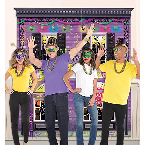 Party City Mardi Gras Photo Booth Kit, 32 Pieces, Includes Scene Setter and Necklaces