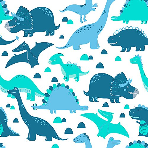 Papel de Parede Infantil Dinossauros Bobinex Uau Azul/Verde