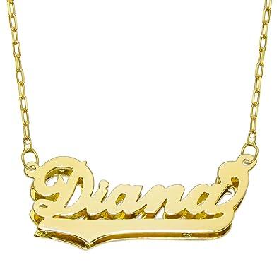 10813af1eee7 14 K Amarillo Oro personalizada doble placa 3d nombre collar - estilo 4 -  personalizar cualquier nombre  Amazon.es  Joyería