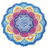 Large Round Lotus Flower Mandala Tapestry Beach Towel & Blanket Table Cloth Fringe Tassel Beach Blanket Yoga Mat (Blue-2)