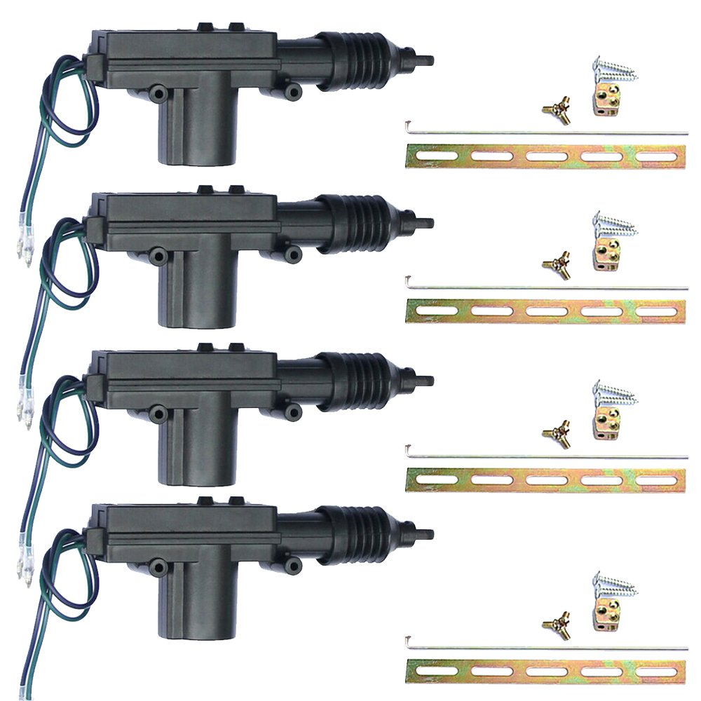 E Support Black Car Plastic Universal Heavy Duty Power Door Lock Actuator 2 Wire 12V Pack of 4