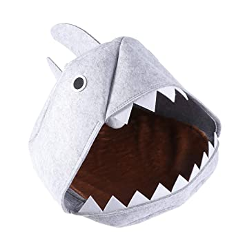 POPETPOP Creativo diseño de tiburón Fieltro Mascota Perro Gato Perrito Perrito Cama casa Suave Perrera cojín cálido Suministros para Mascotas (Gris Claro): ...