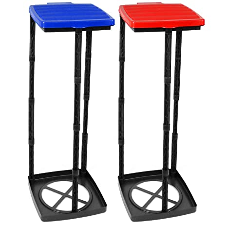 com-four® Soporte para Bolsas de Basura 2X con Tapa en Azul y Rojo, el contenedor de Basura se Puede Montar en 3 Alturas Diferentes (Cubierta - Azul + ...