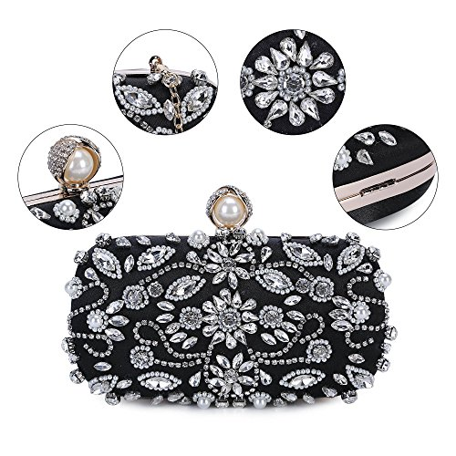 1 Beaded Noble Bag Clutch Evening Crystal Chichitop Black Wedding Women Purse OBwqTT
