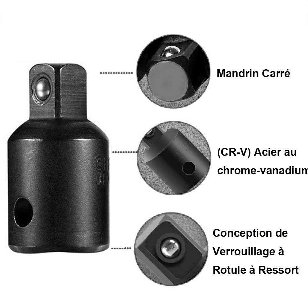 8pcs 6.35mm Tige Hex Socket Extension Adaptateur Bit 1//4 3//8 1//2 Gasea 12pcs Impact Extension et Socket Adaptateur 4Pcs Adaptateur Socket et R/éducteur