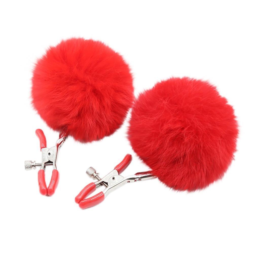 Jinjin Sex Toys, Breast Nipple Plush Soft Stimuli Adjustable Sex Toy Breast Fun Private Clip Adult Toy (Red)
