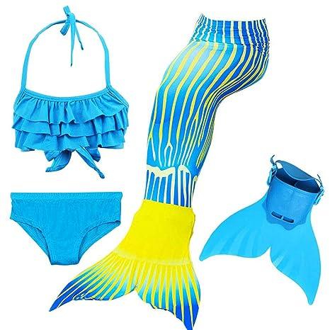 KJGFD Traje de baño para niñas Sirena con Traje de baño ...