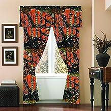 """The Woods"" Camo Curtain & Valance 5 Piece Drape Set Orange"