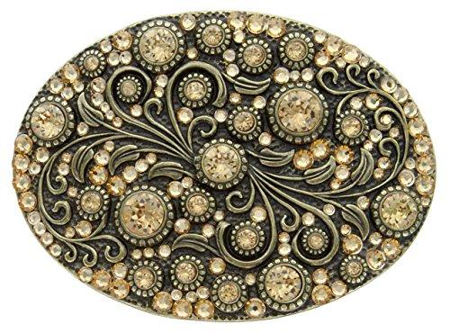 Brass Womens Belt Buckle - Antique Brass Oval Engraved Lt. Col Topaz Belt Buckle