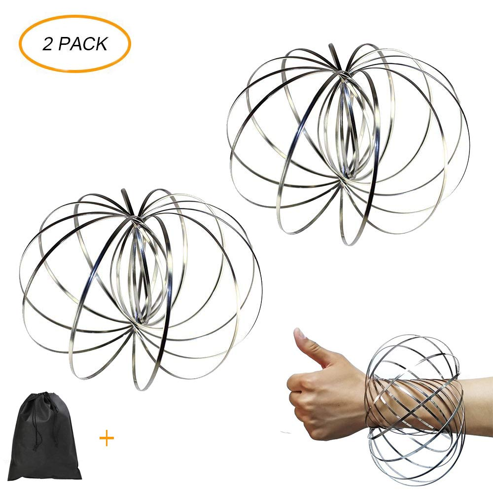 Flow Ring Kinetic Spring Toy, 3D Spinner Ring Arm Slinky Magic Roll Ring Multi Sensory Interactive Spring Bracelet - 2 Pack