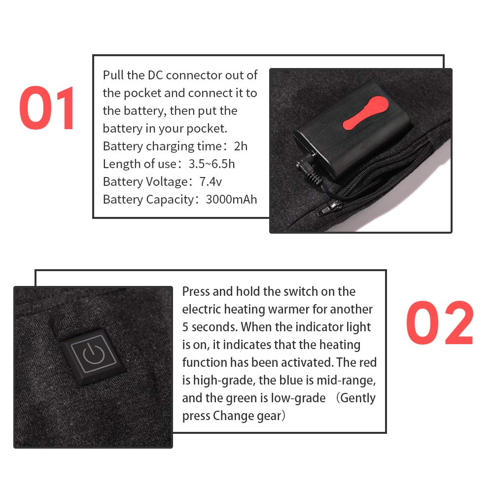 J Jinpei Heated Underwear Top Pants Lithium Battery Thermal Controlled Charger Intelligent 3 File Temperature Control Rechargeable Heating Outdoor