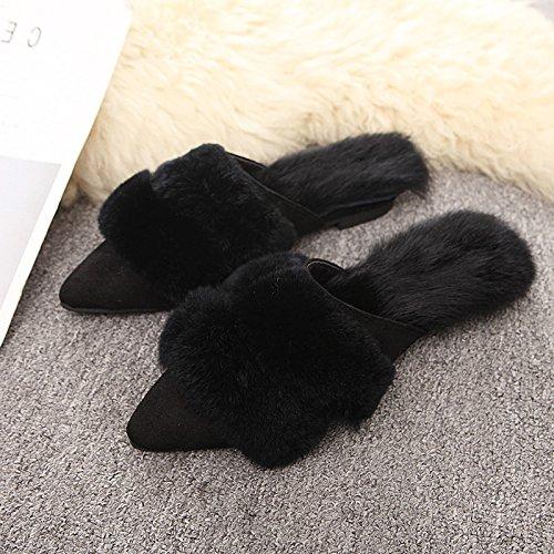 Fankou Autunno e Inverno Baotou, indossare una metà femmina pantofole elegante e versatile femmina scarpe di cotone ,36, kaki