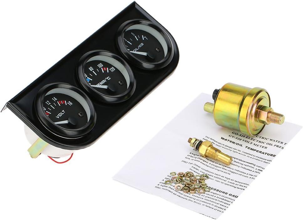 52 Millimetri Pressione dellolio Calibro di Temperatura dellAcqua voltmetro 3 in 1 Metro Auto Moto Lechnical Elettronica Triple Gauge Kit