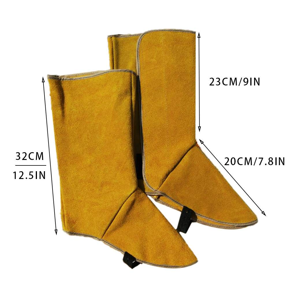 Depruies Cowhide Leather Welding Protective Shoes Feet Cover Heat and Abrasion Resistant Welding Spats Welding Boot Protectors,Welding Shoe Cover