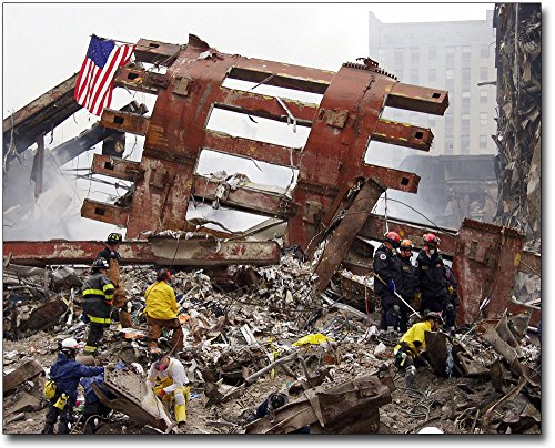 World Trade Center Steel - World Trade Center Steel Framework and Workers 9/11 30x40 Silver Halide Photo Print