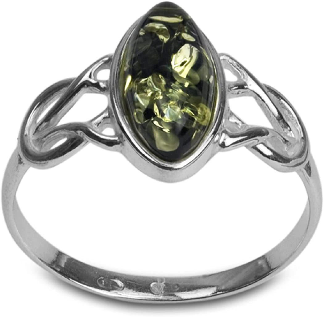Green Amber Sterling Silver Celtic Marquise Shape Thin Ring Ian and Valeri Co