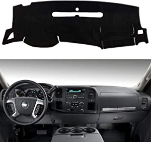 HanLanKa Dashboard Cover for GMC Sierra and Chevrolet Silverado- Fits 2007-2013 Models with Two Glove Boxes. Custom Fit Dash Mat, Won't Break Dash Sensors(Premium Carpet, Black)