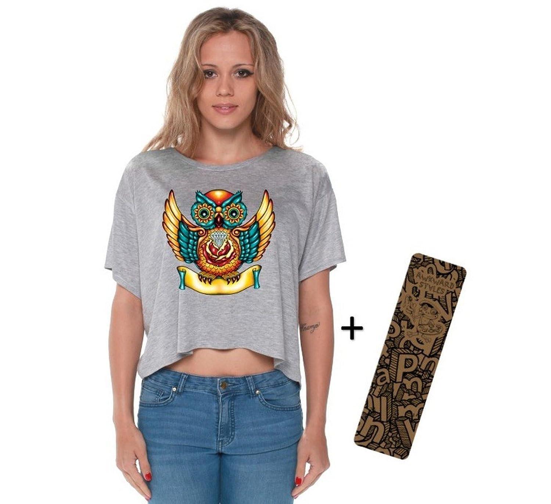 Awkwardstyles Sugar Owl Boxy Crewneck Flowy Tank Top Sugar Skull + Bookmark