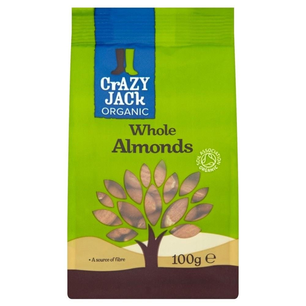 Crazy Jack Organic Whole Almonds (100g) - Pack of 6