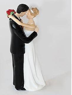 Wonderful Bride And Groom Tender Moment Wedding Couple Cake Topper
