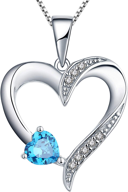 YL Collar de plata 925 collar de corazón de amor con 5 MM * 5 MM AAA corazón de piedras preciosas colgante de joyería para mujer novia, 45-50 cm