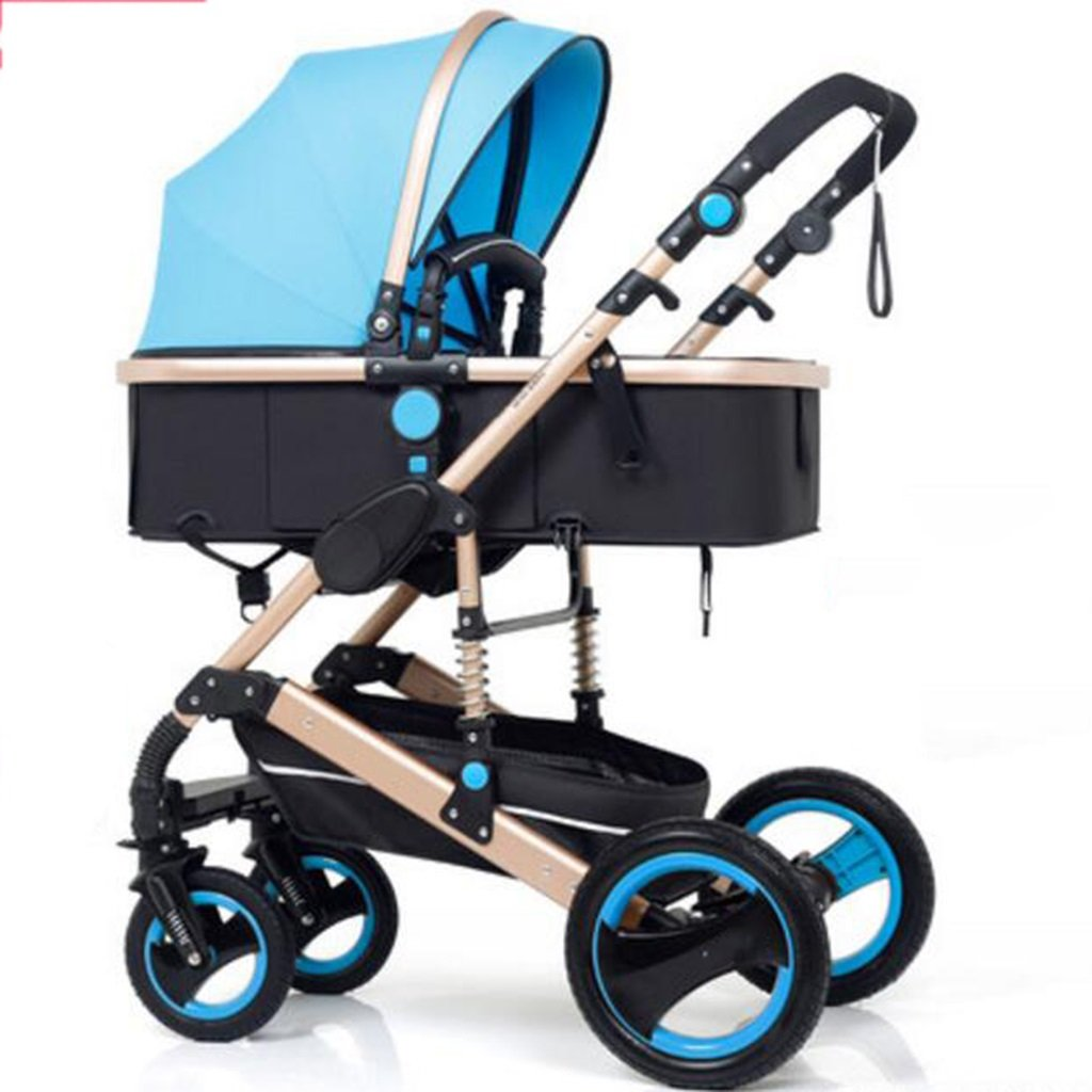 bluee PLDDY Pet Bag Two-way Lightweight Aluminum Alloy Pushchair Stroller,Sit Reclining Shock Absorbers, Foldable with Hidden Pockets, Four-wheeled Baby Trolley, 87cm61cm109cm,Load 15kg Pet Bicycles