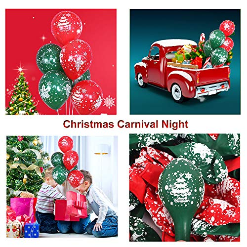 VAINECHAY 100pcs Christmas Balloons Party Decorations for Kids Christmas Balloons Helium Latex Green Red 12inch