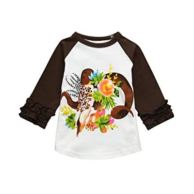 63e8a2697769d5 Toddler Infant Kids Baby Girls Floral Ruffles T Shirt Tops Clothes Outfits