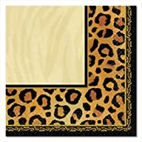 Amscan Disposable 2-Ply Lunch Napkins in Safari Chic Style Print (16 Pack) 6.5 x 6.5 Black/Brown/Orange