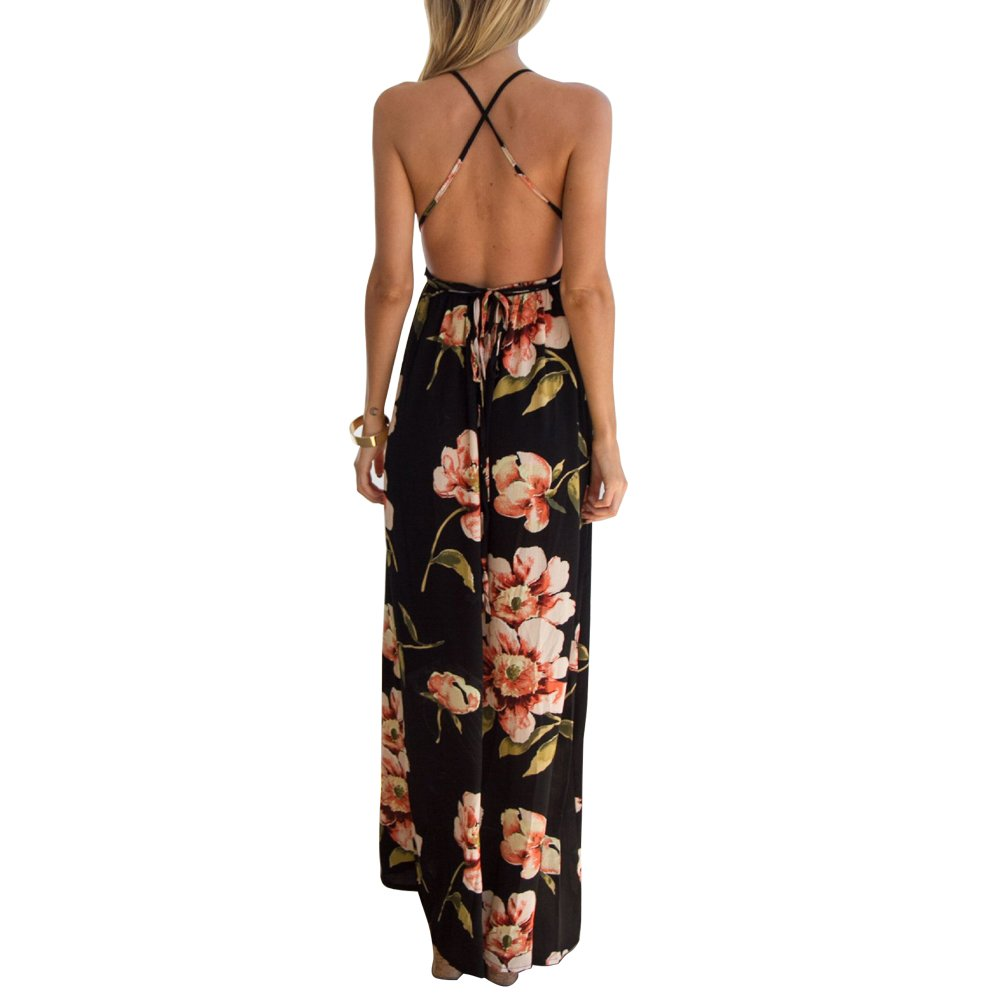 64497a3f772 JNCH Vestido Largo Mujer Estampado de Flores Maxi Boho Verano con Cuello en V  Casual para ...