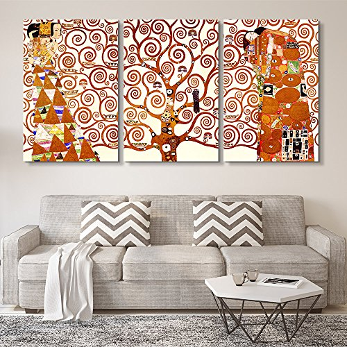 3 Panel World Famous Painting Reproduction Tree of Life by Gustav Klimt x 3 Panels