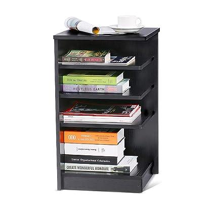 4 Tier Nightstand Bedroom Storage Night Table Rack Bedside End Bookshelf Black Finish