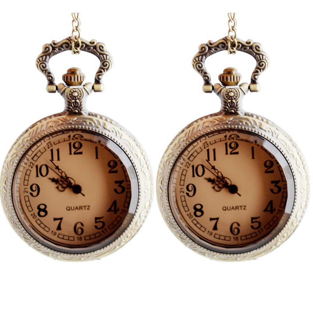 Pocket Watch, Brown Glass Flip Couple Pocket Watch, Casual Pocket and Bracelet Watch, Ladies and Men, Arabic Numerals, White Dial, Copper (2 Packs)