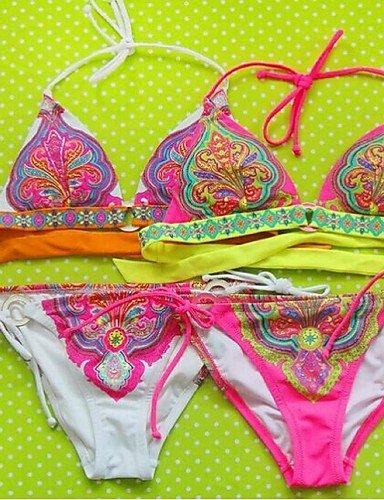 Damen Bikinis - Einheitliche Farbe Drahtlos Polyester Riemchen , red-m , red-m