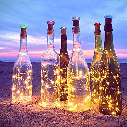 Luz de Botella, AOLUXLM 9x20 LED Lámpara de Botella, Alambre de Cobre de Plata con 12 Accionado Batería, DIY Decoración Guirnalda Cadena de Luz para Boda ...
