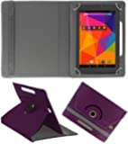 ACM Rotating Leather Flip Case for Micromax Canvas Tab P480 Tablet Stand Cover Holder Purple