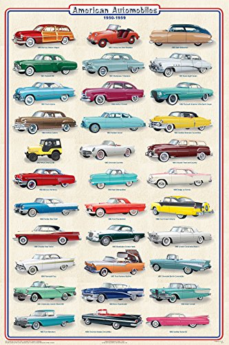 American Automobiles 1950-1959 Educational Car Transportation Reference Print Poster - Corvette 1953 Pictures