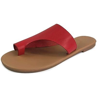 Harper Shoes Women's Toe Ring Slip-On Flat Slide Sandal   Sandals