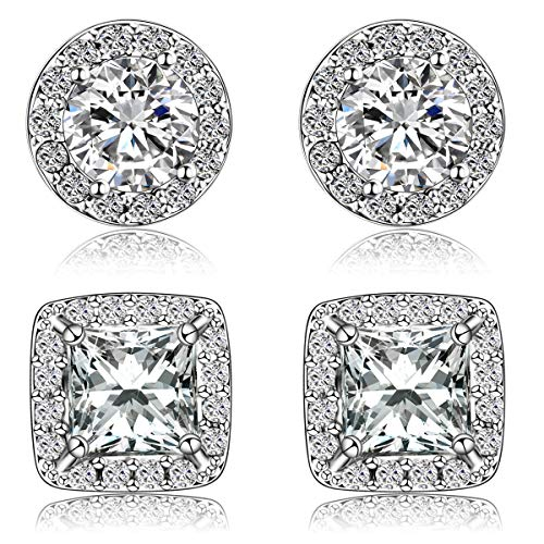 Quinlivan Duo 2 Pairs Premium Halo Stud Earrings, Round Princess Cut Cubic Zirconia Earrings Sets Lightweight for Women, Girls (rhodium) -