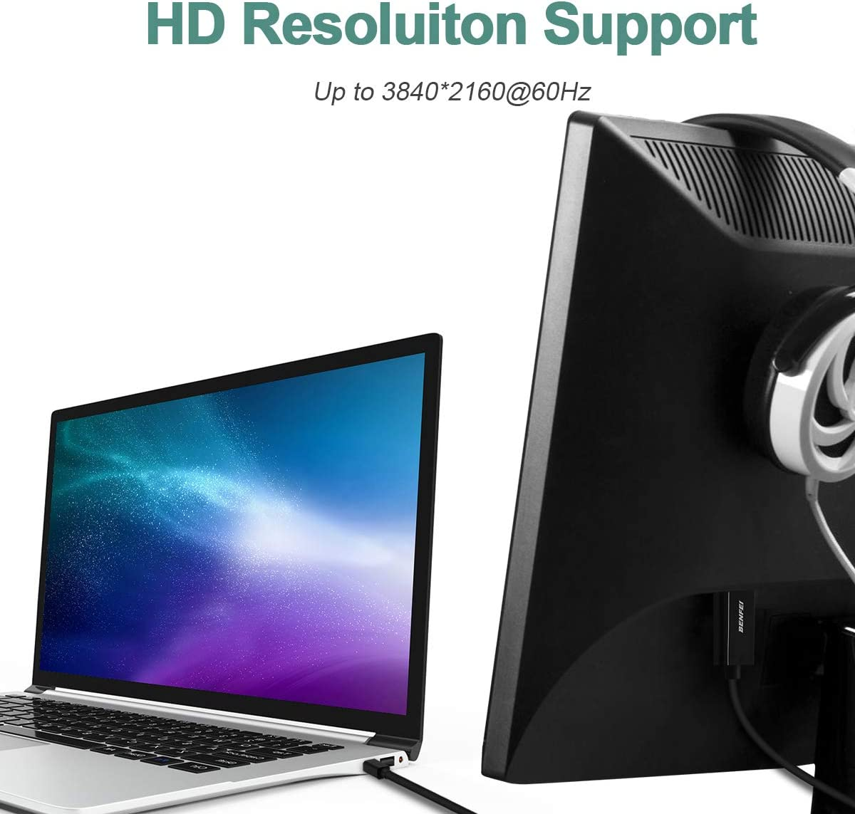 to Display Port Adapter Male to Male Gold-Plated Cord Compatible for MacBook Lenovo Benfei Mini DP Thunderbolt Compatible Dell and Other Brand Mini DisplayPort to DisplayPort 4K@60Hz 3 Feet Cable