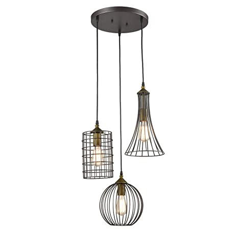 Yobo lighting antique 3 lights oil rubbed bronze chandelier with yobo lighting antique 3 lights oil rubbed bronze chandelier with wire cage aloadofball Image collections