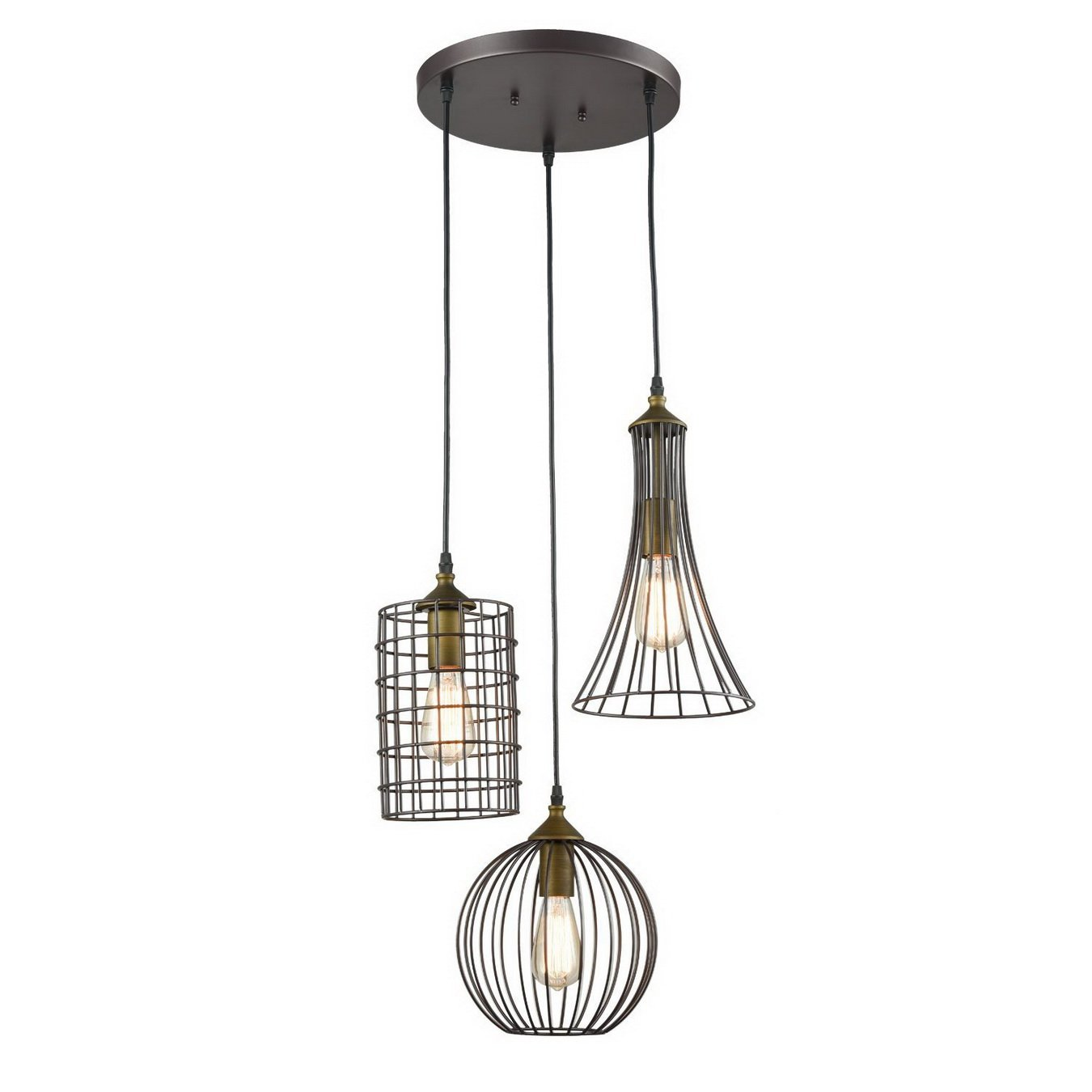 YOBO Lighting Antique 3-lights Oil Rubbed Bronze Chandelier with Wire Cage by YOBO Lighting