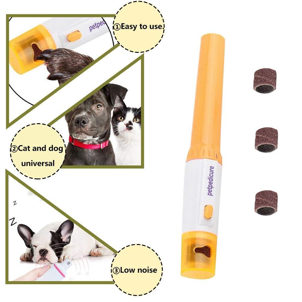 TAOHOU Tijeras el/éctricas Kit de limas de u/ñas Mascotas Manicura Perro Gato Clipper Trimmer Amoladora U/ñas de Aseo Grinder Naranja