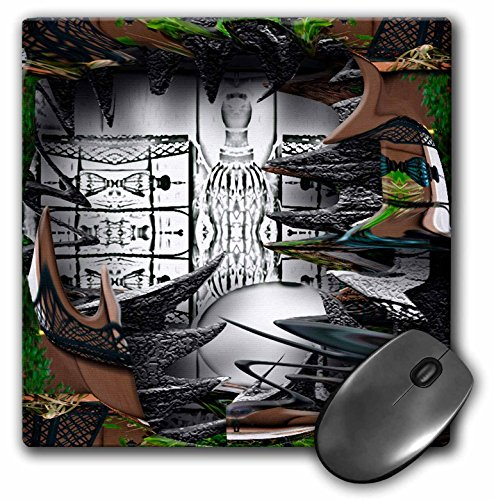 3dRose LLC 8 x 8 x 0.25 Inches Mouse Pad, A Deep Shadow Box Of Black And White Surrounded By Wispy Greens Leaves And Brown Fence (mp_47553_1) (Leaf Wispy)