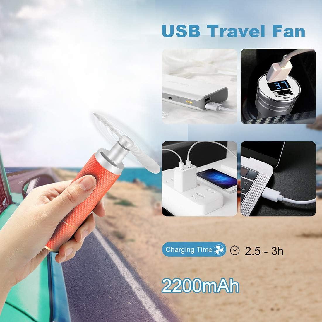 temps de travail 8-12h pour le voyage petit ventilateur USB Ventilateurs /à main ventilateur de refroidissement pour femme batterie rechargeable 2200mAh C/&Xanadu Noir mat shopping et football