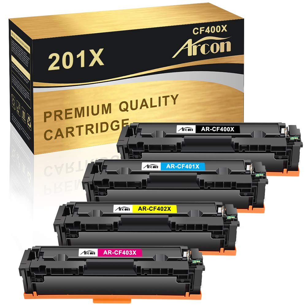 Arcon Compatible Toner Cartridge Replacement for HP 201X 201A CF400X CF400A MFP M277dw HP Color Laserjet Pro MFP M277dw M252dw M277n M277c6 M252n M277 Toner Printer (Black Cyan Magenta Yellow, 4 Pack)