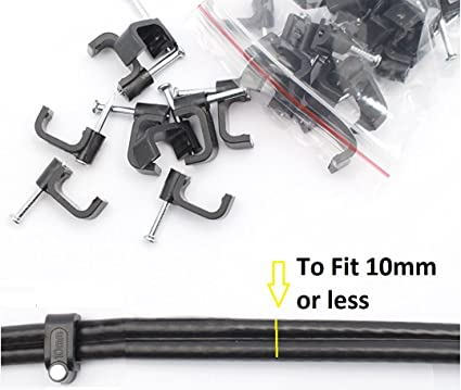 7mm ROUND BLACK CABLE CLIPS-AVERAGE CONTENT=20