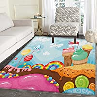 Ice Cream Non Slip Rugs Dessert Land with Rainbow Candies Lollipop Trees and Cupcake Mountains Cartoon Door Mats for inside Non Slip Backing 5x6 Multicolor