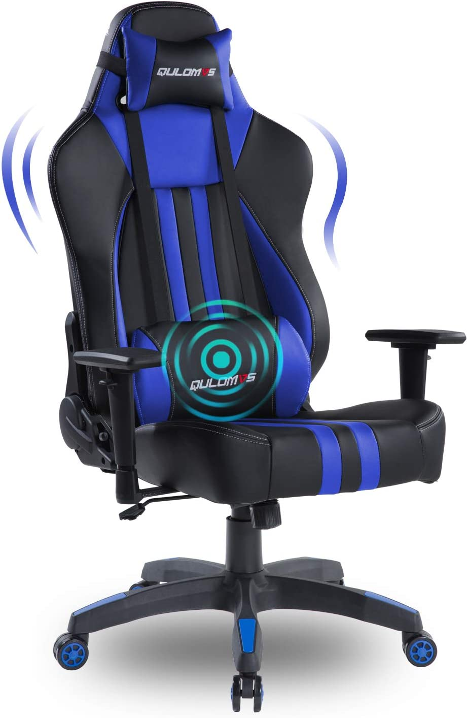 Qulomvs Big and Tall Gaming Chair for Adults 400LBS Heavy Duty Computer Massage Video Game Chair Ergonomic PC Racing Gamer Chair Headrest and Lumbar Support (Blue)